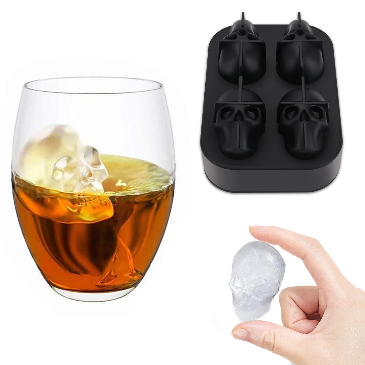 3D Schädel Form <font><b>Ice</b></font> Cube Maker Mold Silikon DIY Bar Party <font><b>Ice</b></font> Cube Tray Mould Kühlen Whisky Cocktail Eis schokolade Werkzeuge image