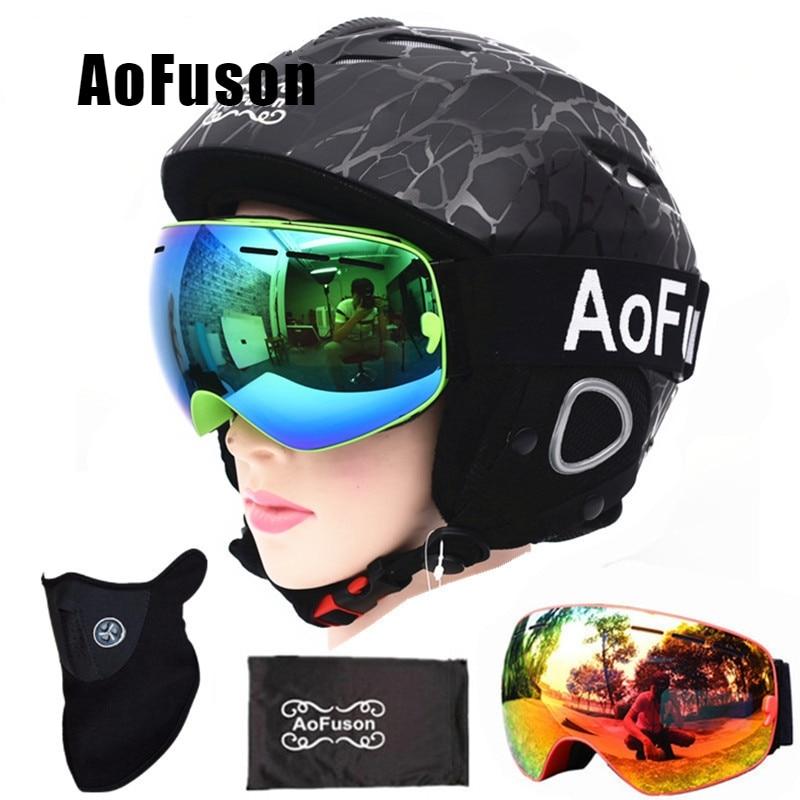 Casque de Ski avec lunettes de Ski Anti-buée casque respirant Double couche Anti-buée grande Vision Snowboard lunettes de Ski ensemble de masque de Ski