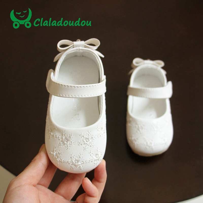 Baby Girls Shoes Soft Bottom Bowknot Cute Princess Dress Party Shoes PU Leather Korean Kids Girl Footwear Insole 11.5-13.5CM
