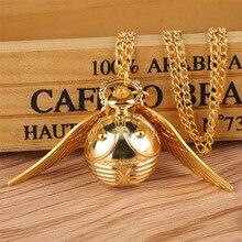 Золотые карманные часы с подвеской в виде Шарика-Снитча, подарки для детей, кварцевые часы с ожерельем, милые карманные часы с брелоком, reloj de bolsillo
