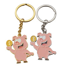 New 1pc Chinese Zodiac Pig Keychain Couples Lovers Cute Cool Animal Pig Key Chain For Car Bag Valentines Gift(China)