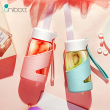 Unibott Glass Sports Water Bottles With Protective Bag 320ml Fruit Outdoor Bike Cup Shaker Portable Motion Kids Drink Bpa Free