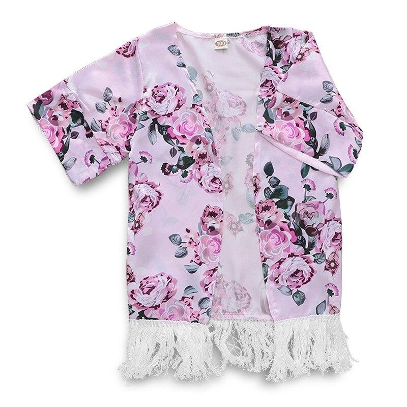 1-5 T Kinder Baby Mädchen Floral Gedruckt Quaste Offene Strickjacke Kimono Oberbekleidung Sommer Mantel Lose Beiläufige Bluse Kleidung