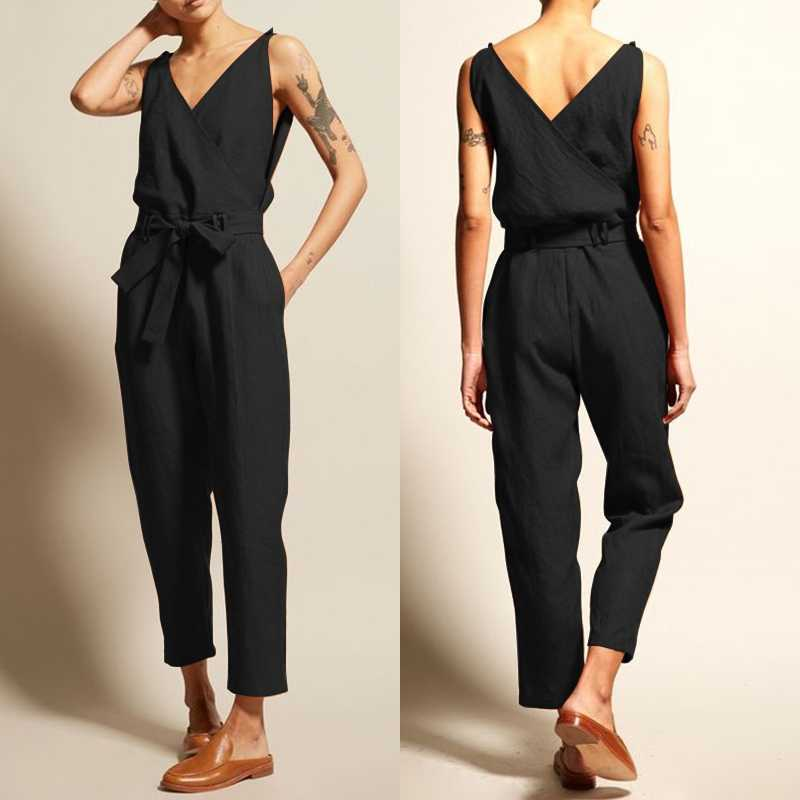 2beee64b39 ZANZEA Jumpsuits Women Vintage Linen Pantalon V Neck Sleeveless Playsuits  Female Casual Backless Overalls Belt Summer