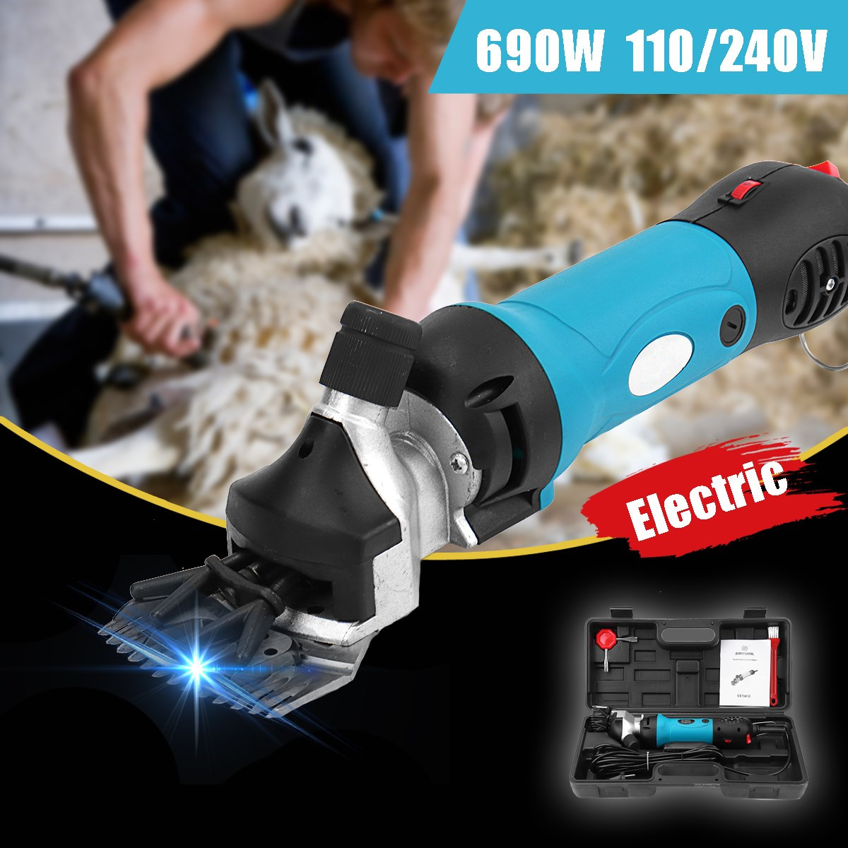 Doersupp Electric Shearing Clipper Accessory Sheep Goat Cutter Scissors Cutting Tool Clipper Machines 690W 110V/240V US/EU PlugDoersupp Electric Shearing Clipper Accessory Sheep Goat Cutter Scissors Cutting Tool Clipper Machines 690W 110V/240V US/EU Plug