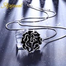 Ajojewel Enamel Black Jewelry Retro Rose Flower Necklaces for women High quality