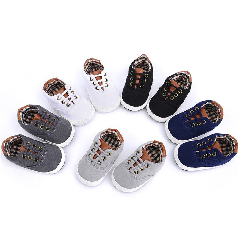 2019 Canvas Lace Up Newborn Moccasin Sport Shoes Girl Baby Soft Sole Toddle Anti-slip Sneaker