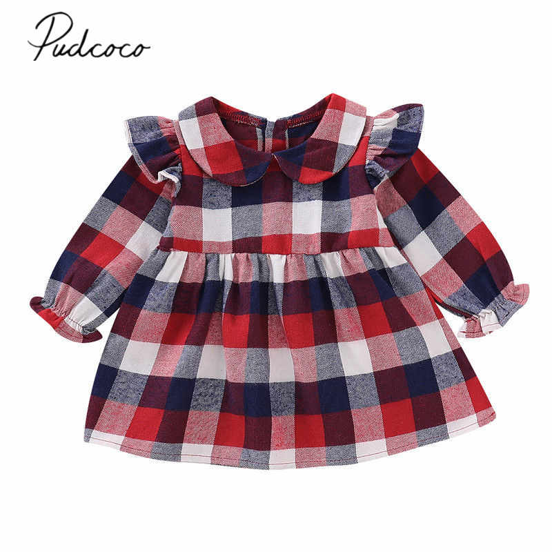 2019 Brand New Newborn Infant Kid Baby Girl Checked Dress Peter Pan Collar Ruffles Long Sleeve Party Dress Spring Autumn Clothes