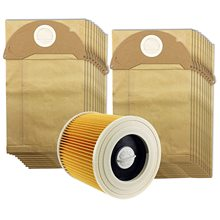 SANQ For Karcher Wet&Dry WD2 Vacuum Cleaner Filter And 20 Dust Bags