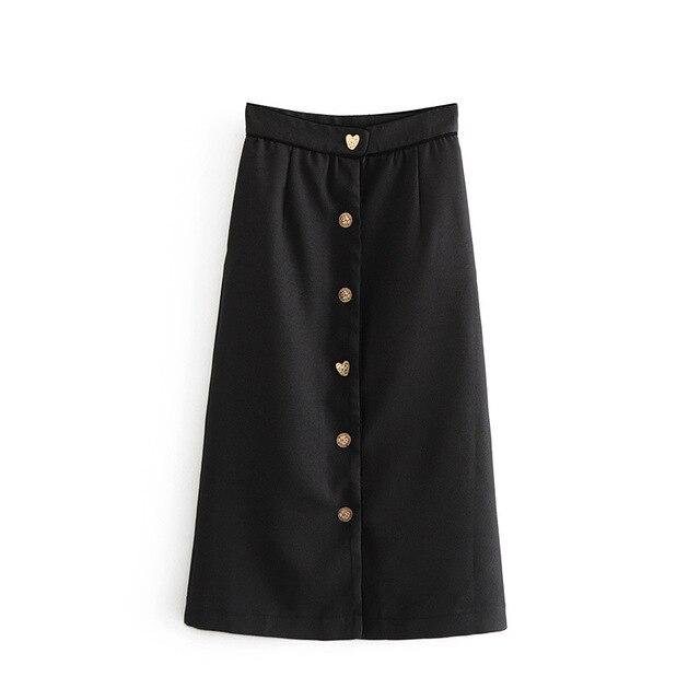 cbe0527f3 luoyamy women basic black straight midi skirt faldas mujer buttons pockets  solid female casual chic mid calf skirts B0432