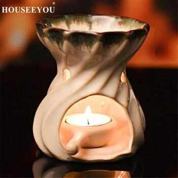 Bruciatori di Olio Essenziale di ceramica Fatti A Mano Incensiere Supporto di Candela Aromaterapia Lampada Ad Olio Regali e Artigianato Decorazione Della Casa Aroma Forno 1