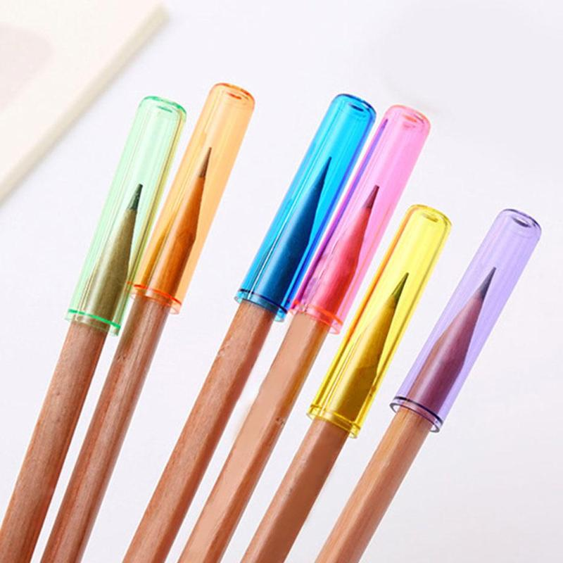 6pcs Pencil Cap Plastic Pencil Extender Translucent Pen Cover Pen Holder Desk Storage Write Stationery School Student Supplies