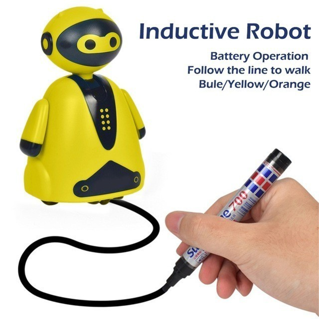 Happy cow 777 631 Follow Line Toy Lovely Magic Auto induction Robot Follow Drawn Line Toy Inductive Model Pen Gift for kids in Action Toy Figures from Toys Hobbies