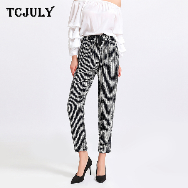 673991dce8aa TCJULY Summer 2019 New Design 100% Rayon Harem Pants Loose Casual  Drawstring Trousers Women 29 Colors Printed Ankle Length Pants