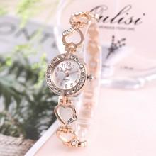 2020 marka luksusowa bransoletka zegarek kobiet zegarki różowe złoto zegarki damskie damski zegarek z diamentami zegar Relogio Feminino Reloj Mujer tanie tanio HELUOSHAN QUARTZ Ukryte zapięcie Stop Nie wodoodporne Moda casual 13mm ROUND Odporny na wstrząsy Szkło slb07 18cm Nie pakiet