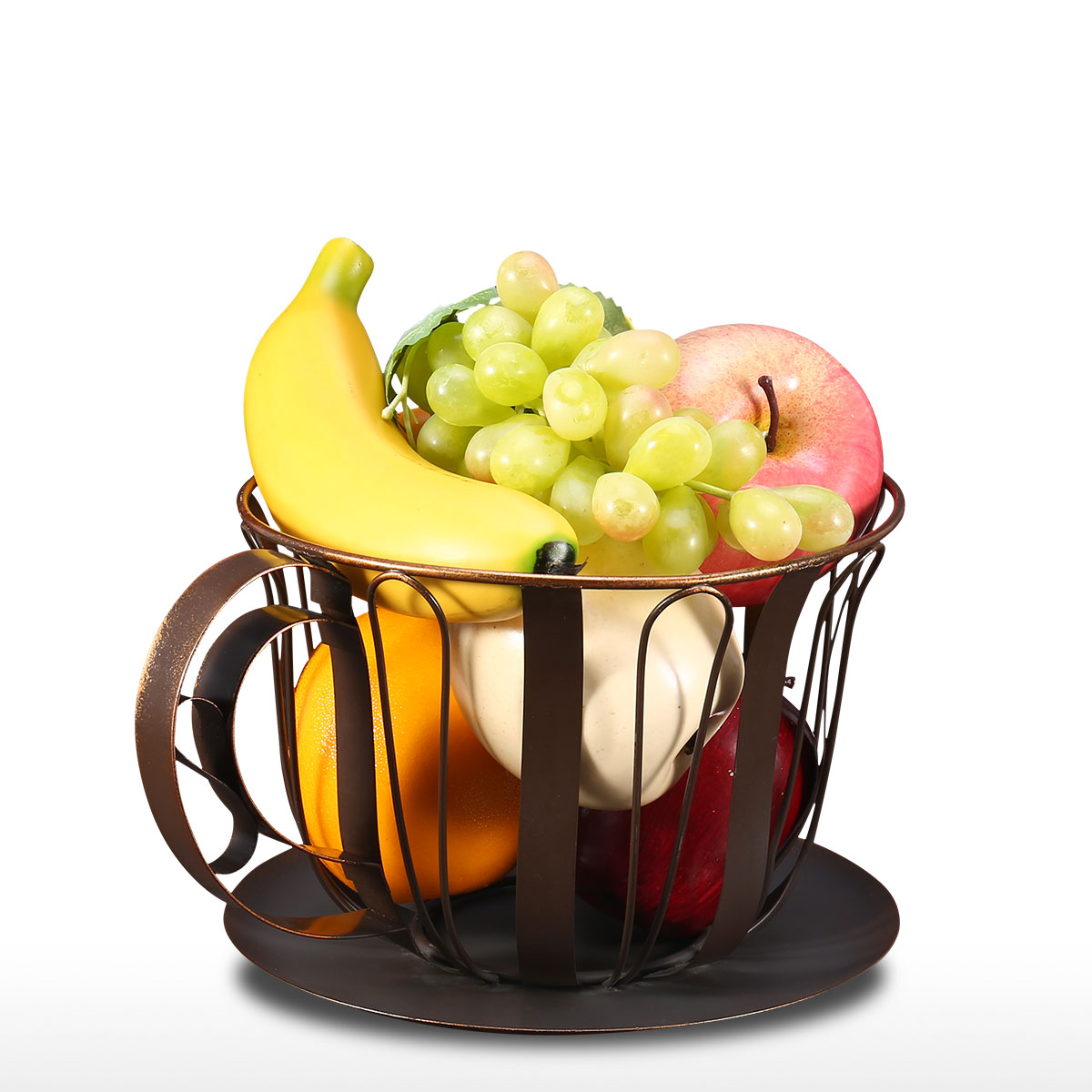 Practical Brown Coffee Pod Container Espresso Pod Holder Fruits Storage Basket Handcrafted From Wrought Iron Storage Baskets