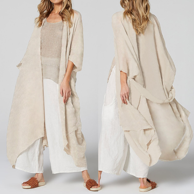 Celmia Women Long Blouses Loose Casual Kimono Cardigan Tops Belted Summer Beach Cover Up Shirts Thin Coats Blusas Plus Size 5XL