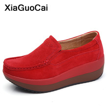 Spring Autumn Women Casual Shoes Slip-on Flat Platform Cheap Female Loafers Moccasins High Quality Leather Woman Flats Big Size