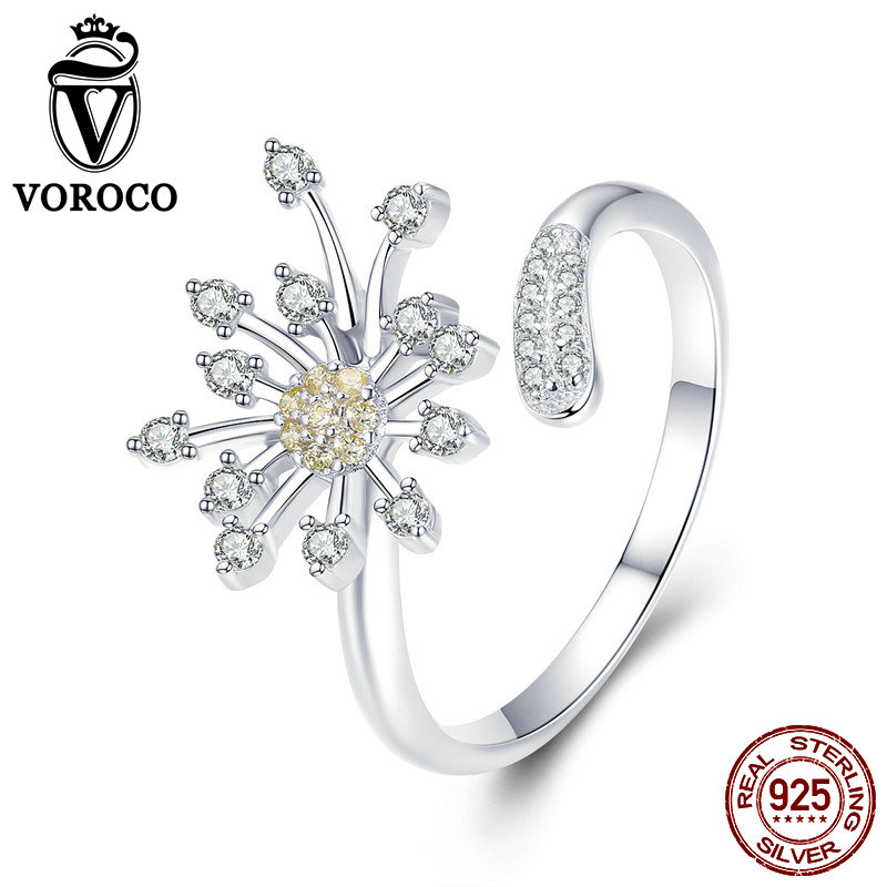 VOROCO 2019 Silver 925 Adjustable Ring Blooming Dandelion Love Sterling Silver For Women Engagement Fine Jewelry Gift BKR471