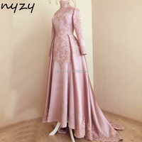 NYZY MW22 Muslim Evening Dress Elegant Hijab robe soiree dubai Long Sleeves Pink Satin Lace abiye elbiseler gelinlik 2019