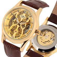 Gold Skeleton Watch Men's Mechanical Wristwatch Automatic Self-Wind Genuine Leather Watches for Men Top Gifts reloj masculino coupon for wholesale buyer price good quality skeleton luxury genuine leather rose gold mechanical automatic self wind men watch