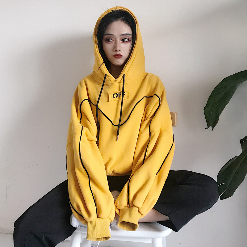 Sudaderas Mujer 2018 Autumn Winter Women Clothing Korean Ulzzang Harajuku Loose Fleece Yellow Hooded Sweatshirts Female Hoodies Сумка