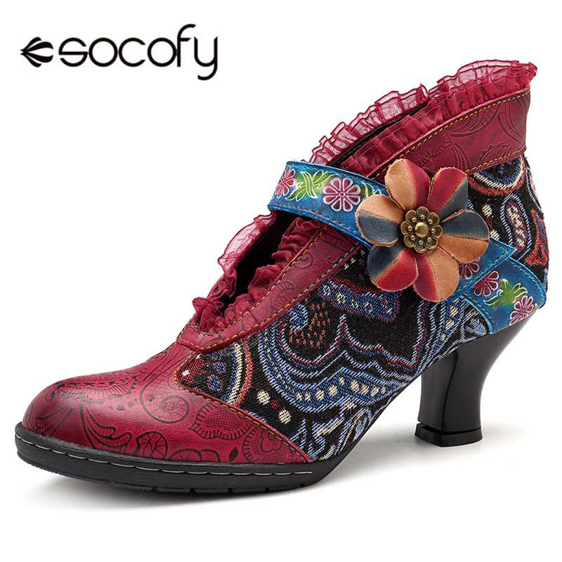 все цены на Socofy Lace Brim Bohemian Pumps Women Shoes Woman Retro Genuine Leather Hook&Loop Flower High Heels Pumps 5cm Ladies Shoes New