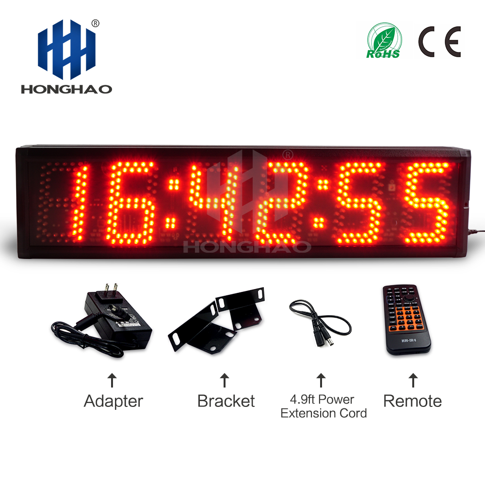 5 inch 6 digits semi outdoor large digital red led clock Coundown Honghao