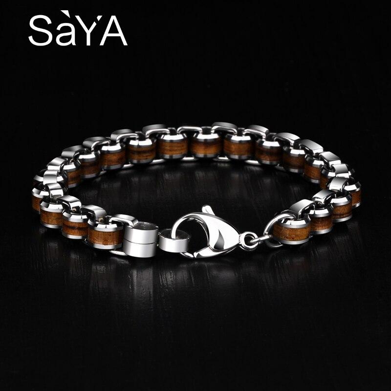Nouveauté luxueux mode homme Bracelets carbure de tungstène liens chaîne Bracelets incrusté bois naturel longueur 18.5/19.5/20.5 cm