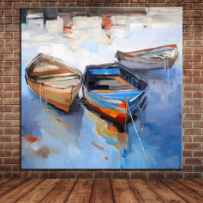 100%Hand Painted Oil Painting Village Landscapes River Boats Sailboat Chinese Wall Art Canvas Mural For Dining