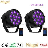 2 pçs/lote 36 W 12 LEDs de Controle Remoto Sem Fio Som Ativa UV LEVOU Luz Par/Ultravioleta LEVOU Spotlight/ roxo UV LED Luz de Palco Efeito de Iluminação de palco     -
