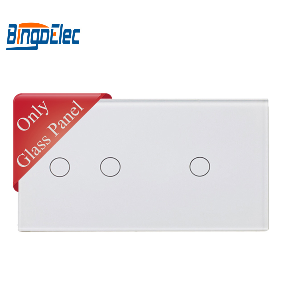 EU Big Glass Panel, 86*157mm, Triple Gang Switch Panel To Match With Touch Switch Function Part
