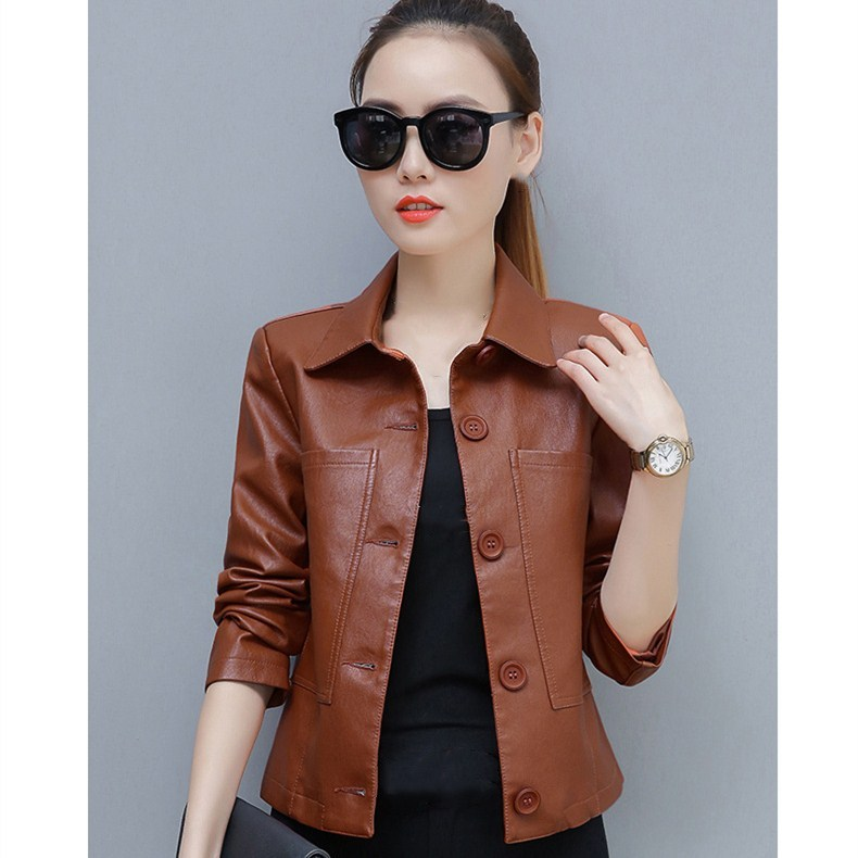 New Fashion Women Turn-Down Collar Short Jackets Autumn Winter Faux   Leather   PU Slim Coat Casual Pockets Solid Outwear