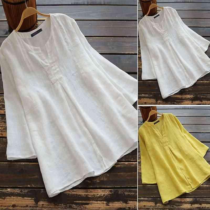 Женская туника, топы, ZANZEA 2019, летняя блуза с рукавом 3/4, повседневная, однотонная, v-образный вырез, хлопок, лен, свободная рубашка, сорочка, Женские базовые Блузы