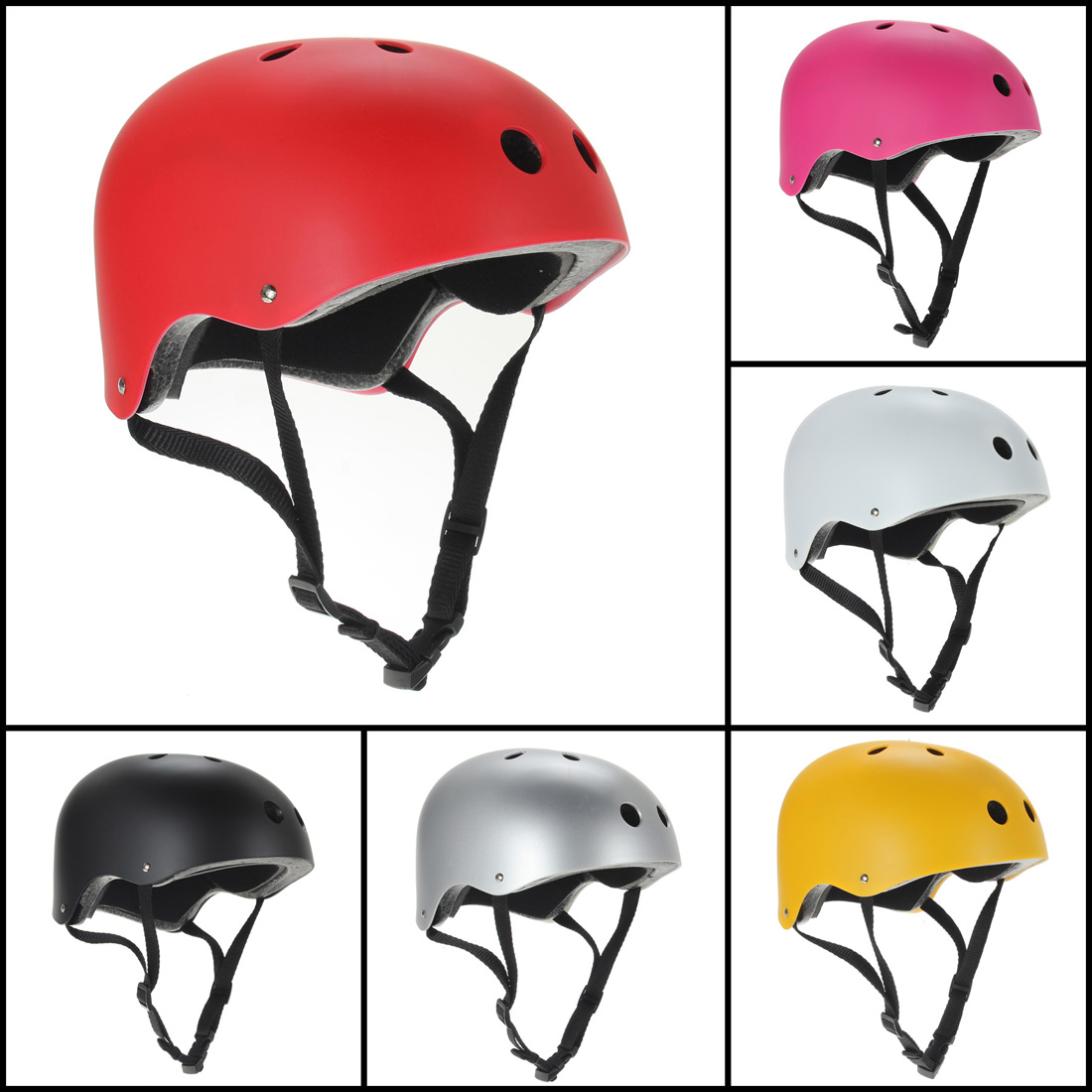 BMX Bike Scooter Roller Derby Inline Ski Skate Board Helmet Matte Size M Black