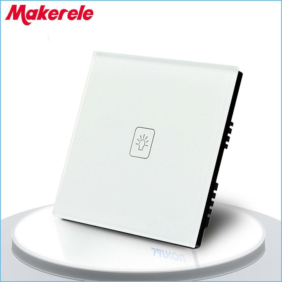 ROYAUME-UNI Standard 1 Gang 1 Voies Télécommande Gradateur Tactile Interrupteur À Distance Lumière Interrupteur Mural Noir Blanc Couleur Or Trempé panneau de verre