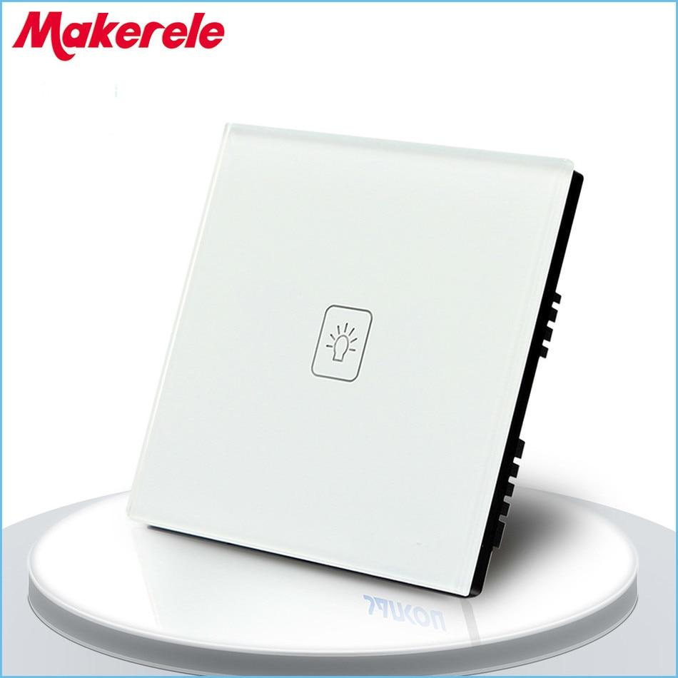 UK Standard 1 Gang 1 voie télécommande gradateur tactile interrupteur à distance lumière murale interrupteur noir blanc or couleur verre trempé panneau