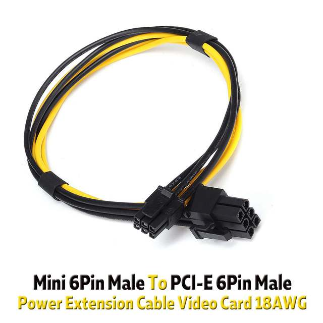 27cm 18AWG PCI-E PCIE Mini 6 Pin Male To PCI-E 6 Pin Male Graphics Card Power Extension Cable Video Card Cable Adapter Cord