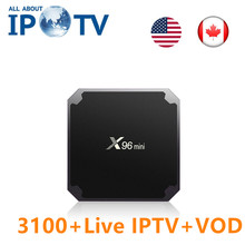 Android Asli X96mini TV Kotak IPTV Amerika Serikat Kanada Amerika Utara IPTV Inggris Arab Perancis Portugal Norwegia Iran X96 Mini Set top Box(China)