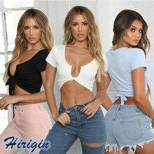 Summer Women Tops 2019 New Women Summer Casual Solid Slim Lace Up Short Tank Tops Short Sleeve U Neck Crop Top недорго, оригинальная цена