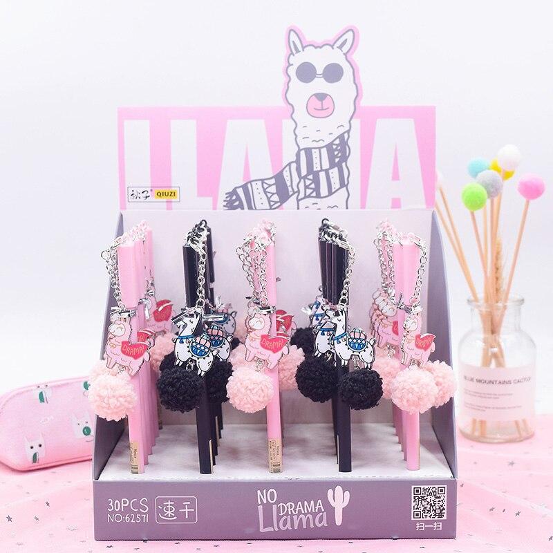 1PC Cute Alpaca Pens Kawaii Plush Gel Pens Pendant Neutral Pens For Kids Gift School Office Supplies Stationery