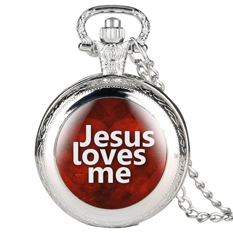 Jesus Love Me Series Quartz Pocket Watch Retro For Men Women Special Pocket Watches Unisex Pendant Gift For Pocket Watch Link