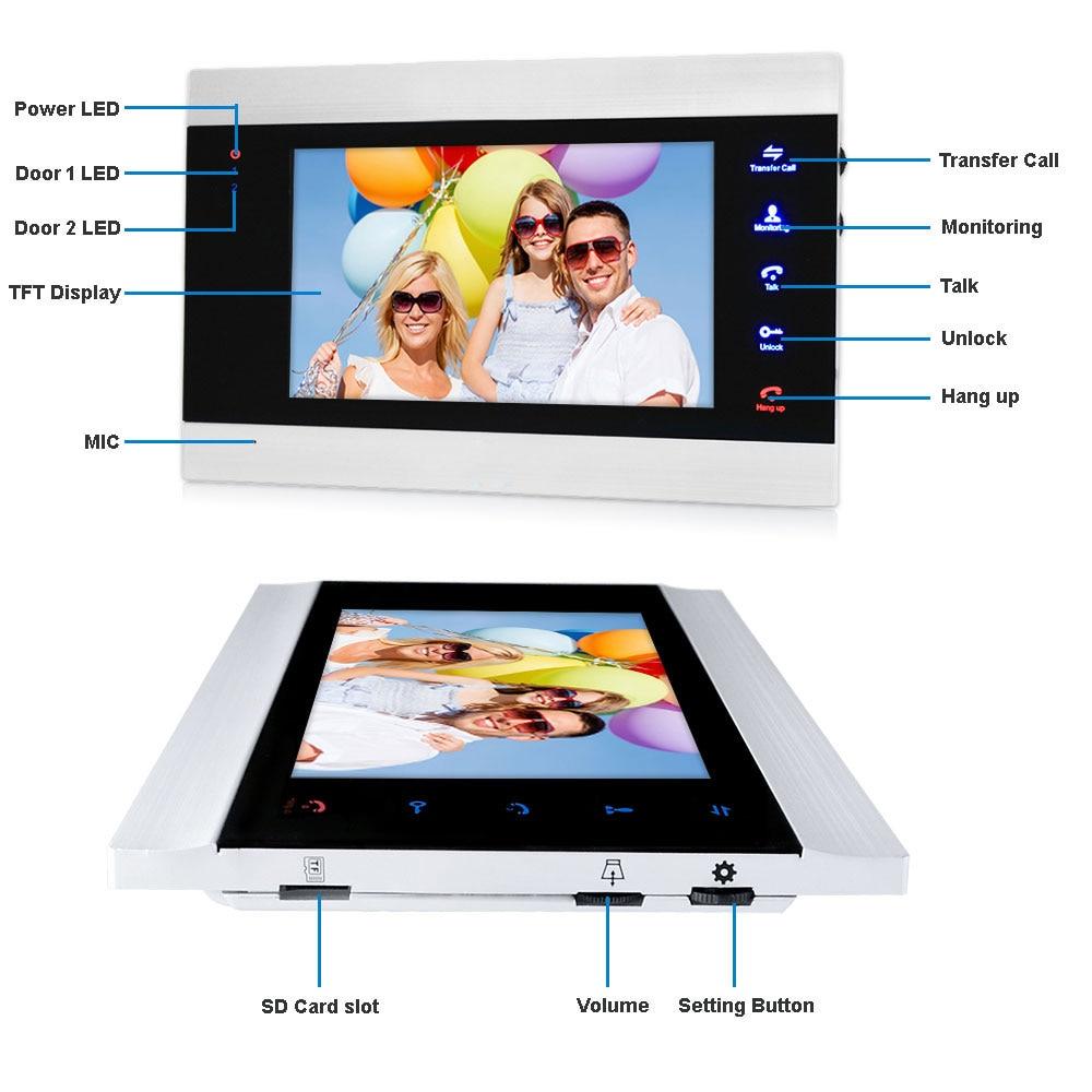 7 Wireless WiFi LCD Video Doorphone HD 720P 1200TVL IR IP65 Outdoor Metal Camera APP Video Record Doorbell Intercom System - 2