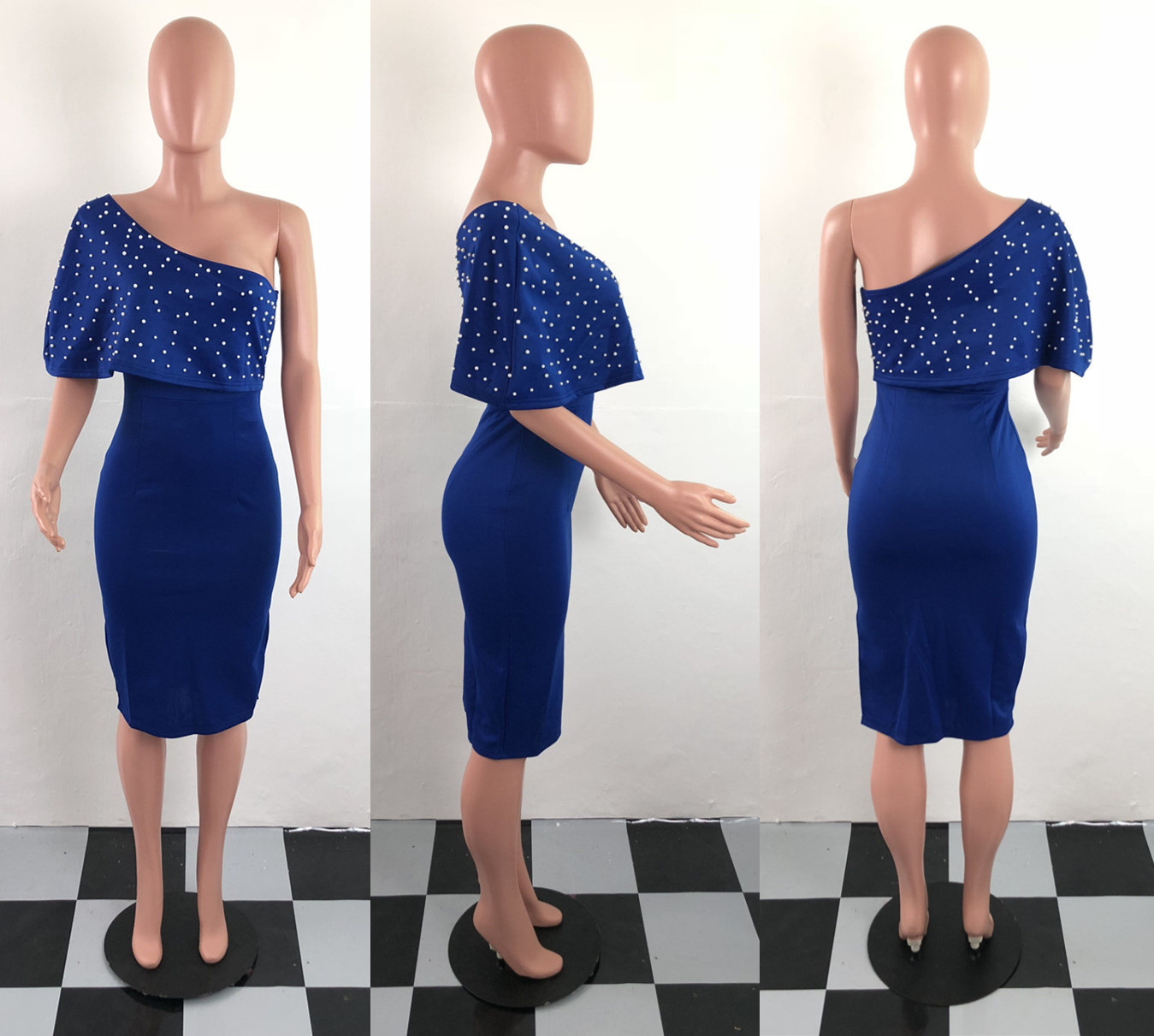 Women Sexy One Shoulder Bodycon Dress 2019 Summer Pearl Beading Split Pencil Dress Ladies Elegant Midi Party Dresses Plus Size in Dresses from Women 39 s Clothing