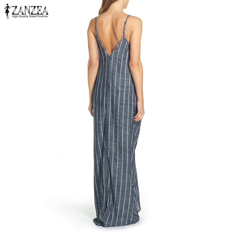 ZANZEA Women Spaghetti Strap Striped Sleeveless V Neck Long Maxi Dress Sundress