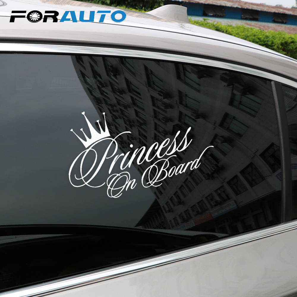 FORAUTO Princess Crown Car Sticker Vinyl Decals Bedroom Decoration Car-styling Black/Silver 17*10cm Auto Accessories