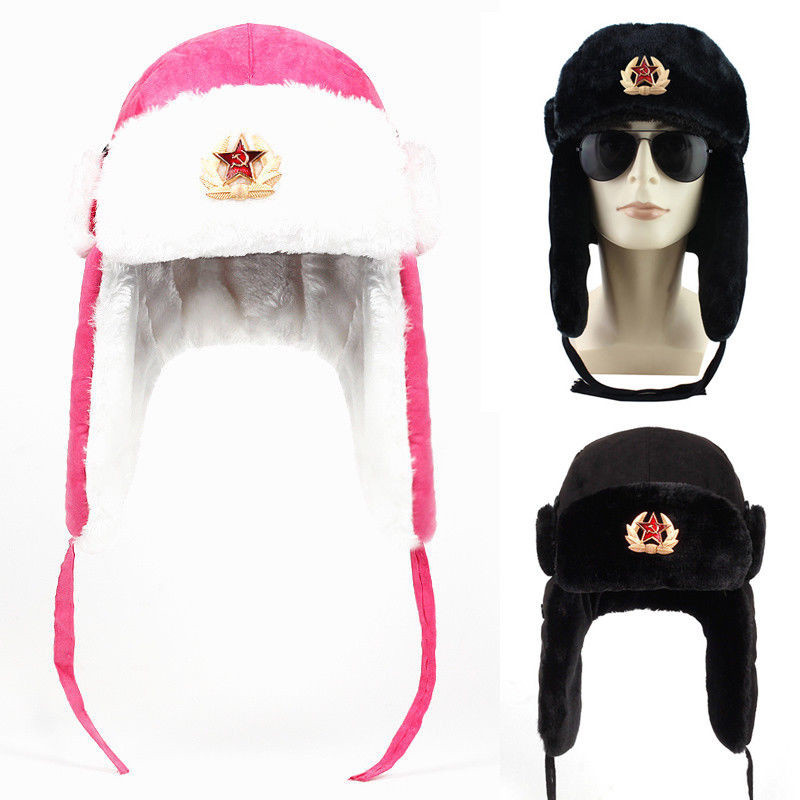Winter Russian Hat Ski Fur Pilot Military Army Black Airman Leather Ushanka