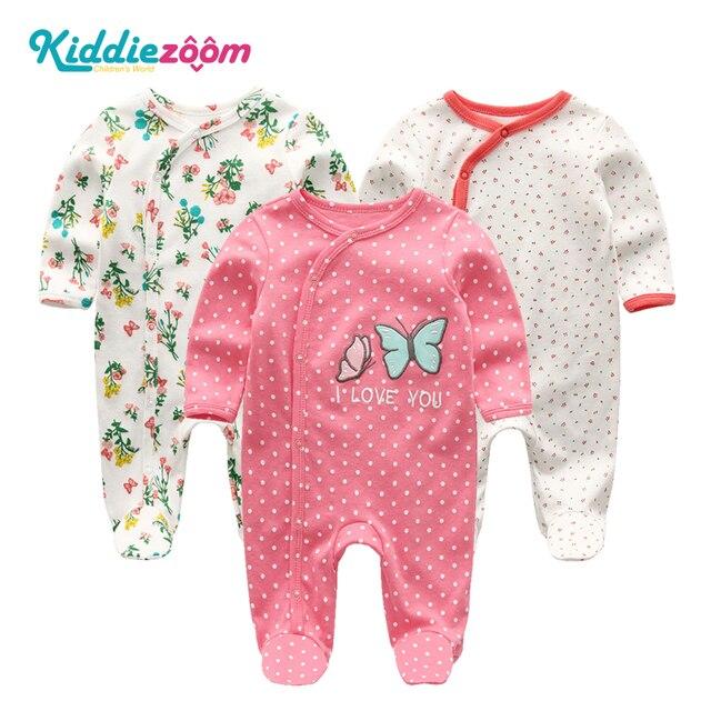 2020 2/3 adet Bodysuits karikatür kız giyim erkek bebek giysileri 0 12M pamuk bebek kız giysileri yenidoğan çizgili Roupa Bebe