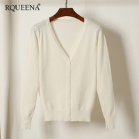 Rqueena Korean Style Women's Cardigans Black/White/Red/Green Knitted Cardigan Womens Sweater Knitwear Cardigan For Women CA001