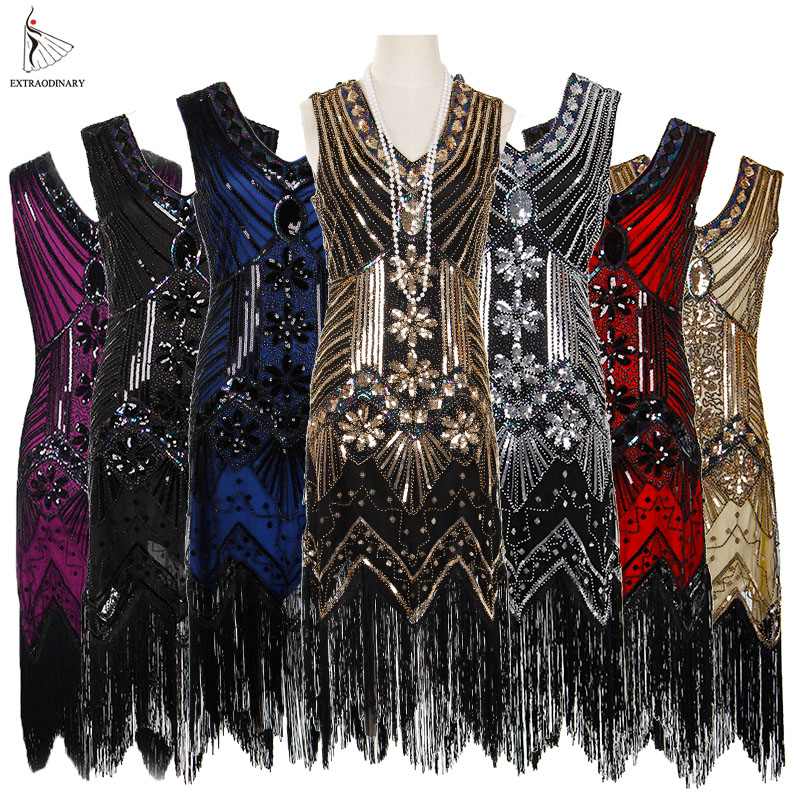 Women 1920 s Vintage Great Gatsby Dress Sequins Dress V Neck Tassels Bodycon Beaded Party Dress Flapper Dresses Art Deco Double-in Dresses from Women's Clothing